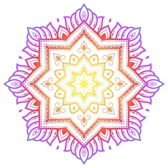 ヘナ、一時的な刺青、入れ墨、装飾のための花と曼荼羅の形の円形パターン。エスニックオリエンタルスタイルの装飾飾り。白い背景の上の虹のデザイン。