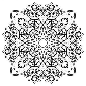헤나, 멘디, 문신, 장식 꽃과 만다라의 형태로 원형 패턴입니다. 민족적인 동양 스타일의 장식 장식입니다.
