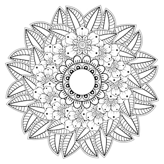 헤나 멘디 문신 장식 꽃과 만다라 형태의 원형 패턴. 민족 동양 인도 스타일의 멘디 꽃 장식.
