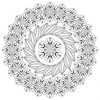 헤나, 멘디, 문신, 장식용 꽃과 만다라 형태의 원형 패턴. 민족 동양, 인도 스타일의 멘디 꽃 장식.