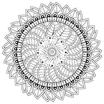 Круговой узор в виде мандалы с цветком для украшения татуировки хной менди. менди цветочное украшение в этническом восточно-индийском стиле.
