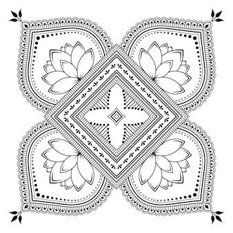ヘナ、一時的な刺青、タトゥー、装飾用の花とマンダラの形の円形パターン。