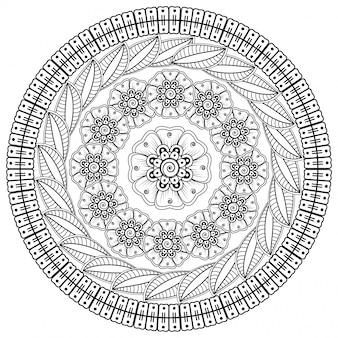 헤나, 멘디, 문신, 장식용 꽃과 만다라 형태의 원형 패턴.