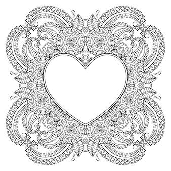 ハートの形をしたフレーム付きの曼荼羅の形の円形パターン。エスニックオリエンタル一時的な刺青スタイルの装飾的な装飾。アウトライン落書き手描きベクトルイラスト。アンチストレスぬりえの本のページ。