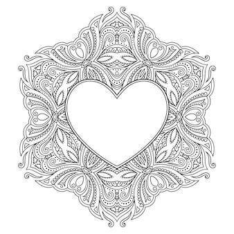 Круговой узор в виде мандалы с рамкой в форме сердца. декоративный орнамент в этническом восточном стиле менди.