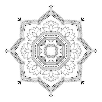 Круговой узор в виде мандалы с цветком лотоса