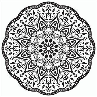 민족 동양 스타일의 만다라 예술 장식의 흑백 형태의 원형 패턴