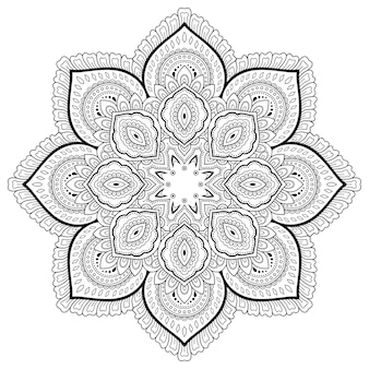 マンダラの形をした円形のパターン。一時的な刺青スタイル。塗り絵のページ。