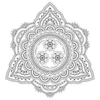 Круглый узор в виде мандалы. менди стиль. орнамент в восточном стиле.
