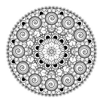 꽃과 만다라의 형태로 원형 패턴. 민족 오리엔탈 스타일 컬러링 페이지의 장식 장식
