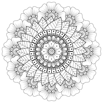 Круговой узор в виде мандалы с цветком. декоративный орнамент в этническом восточном стиле.