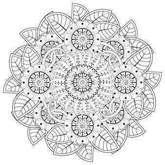 헤나 멘디를 위한 꽃이 있는 만다라 형태의 원형 패턴