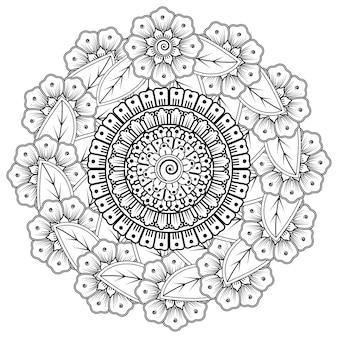 ヘナの花と曼荼羅の形の円形パターン