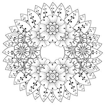 Раскраска круговой узор в виде мандалы с цветком в этническом восточном стиле
