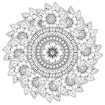 エスニックオリエンタルスタイルの花と曼荼羅の形の円形パターン。