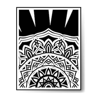 Circular pattern mandala black and white decoration