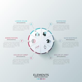 Circular pie diagram divided into 6 pieces with flat symbols inside and arrows pointing at text boxes. concept of six features of startup project. infographic design layout.