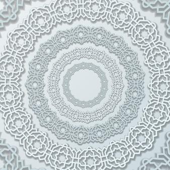 白のエレガントな色の円形放射状の丸い装飾曼荼羅飾り