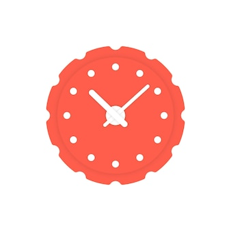 Circular red clock icon. concept of alert, measurement, accuracy, precision, optimization, control, mechanism. isolated on white background. flat style trend modern logotype design vector illustration