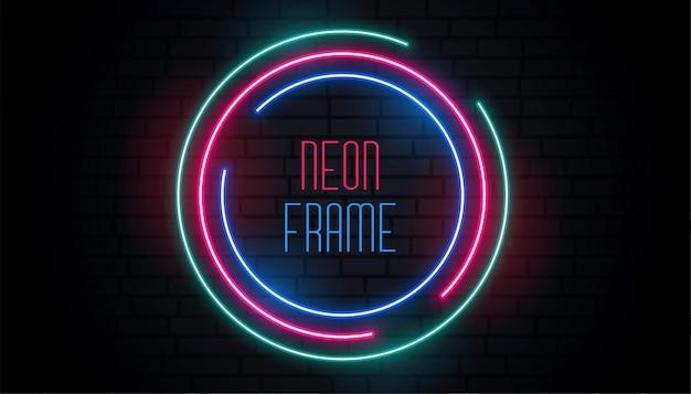 Circular round neon frame design