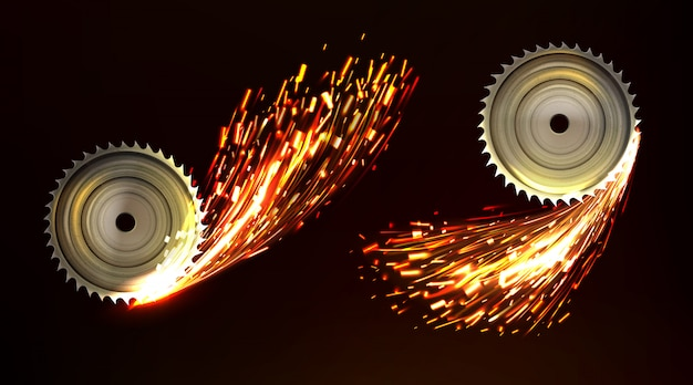 Circular saw blades with sparks, metal work fire