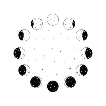 Круглый набор значков фаз луны с сияющими звездами внутри в черном контуре силуэт всего астронома ...