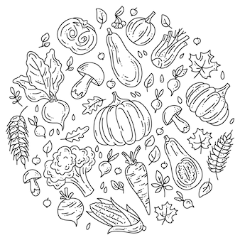 Circular set of vegetables icons for the autumn harvest