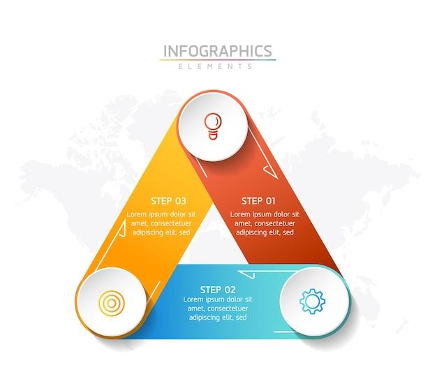 삼각형 infographic 요소 템플릿 디자인에 원형 모양