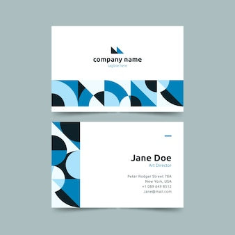 Circular shapes in gradient blue business card template