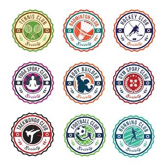 Circular sport club logo badge set illustration