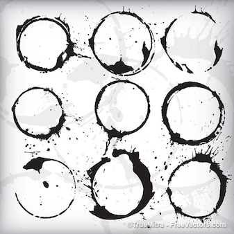 Circular stains in black with white background
