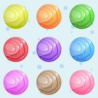 Круглый камень с волнистым рисунком, яркий и блестящий для игры-головоломки.