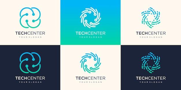 Circular tech logo icon. link icon with dot. circuit element.