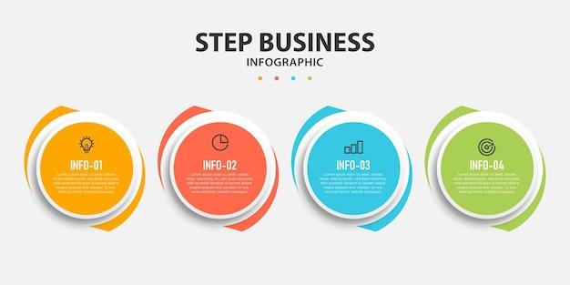 Круговой график шагов инфографики шаблон дизайна