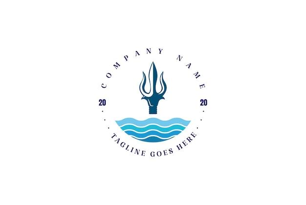Круговой трезубец нептун лорд посейдон тритон король копья дизайн логотипа вектора