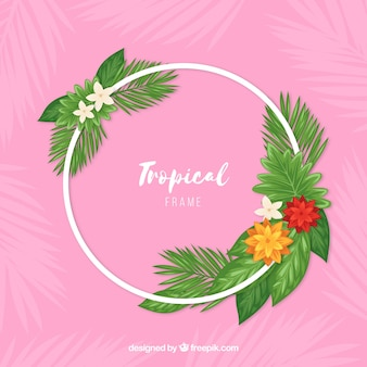 Circular tropical leave frame