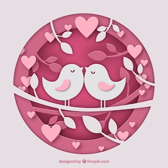 Circular valentines day background with birds