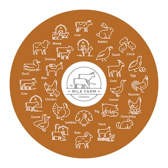 Circular vector icon set in a line style of farm animals silhouettes.