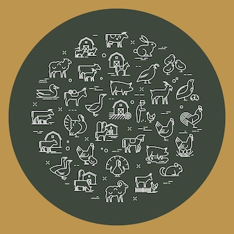 Circular vector set of farm animals that are great for illustrations, infographics