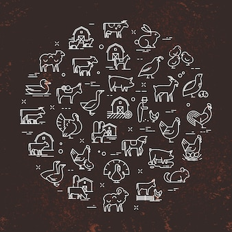 Circular vector set of farm animals