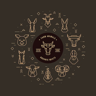 Circular vector set of heads of farm animals