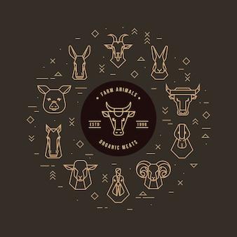Circular vector set of heads of farm animals