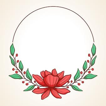 結婚式の招待状やグリーティングカード用の円形のヴィンテージ花柄手描きフレーム
