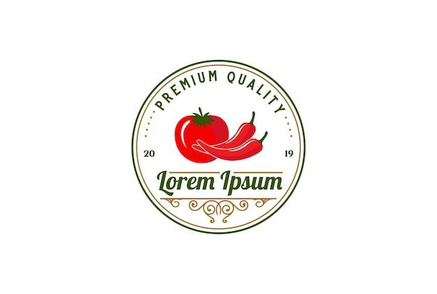 製品ファームラベルロゴデザインベクトルの円形ヴィンテージレトロ赤唐辛子とトマト