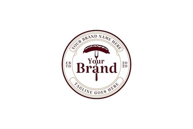 Circular vintage retro rustic sausage label logo design vector