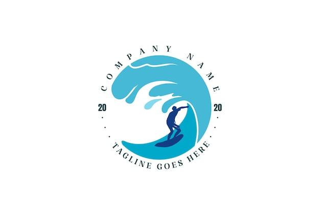 Circular wave surf surfer surfing sport club logo design vector