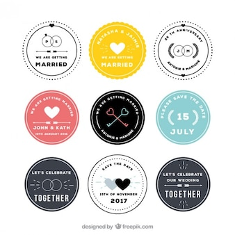Circular wedding badges collection