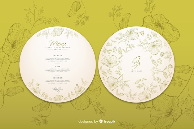 Circular wedding  invitation with hand drawn flowers