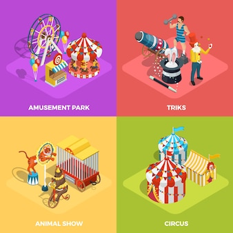 Circus 4 isometric icons square poster