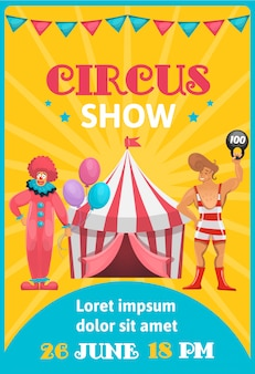 Manifesto di pubblicità del circo colorato con testo modificabile degli artisti del fumetto e data dell'evento